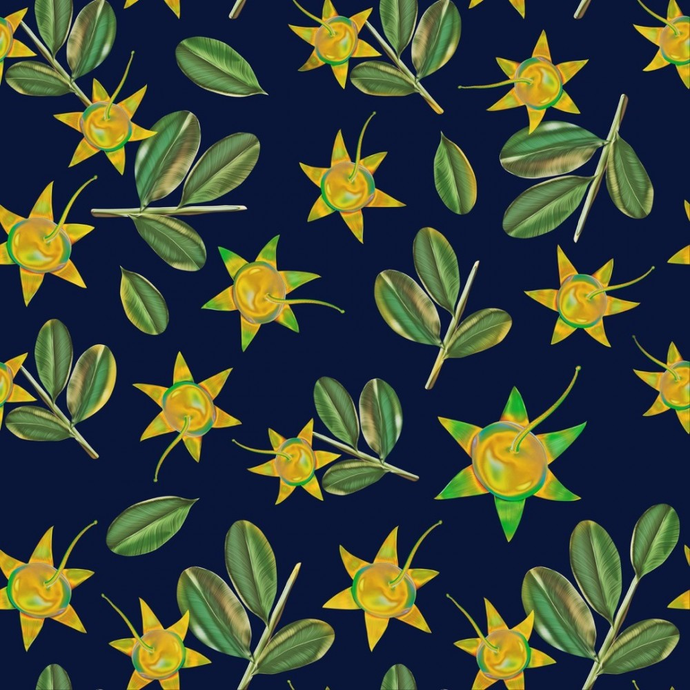 Mangrove Sonneratia Fruits and Leaves Pattern Illustration
