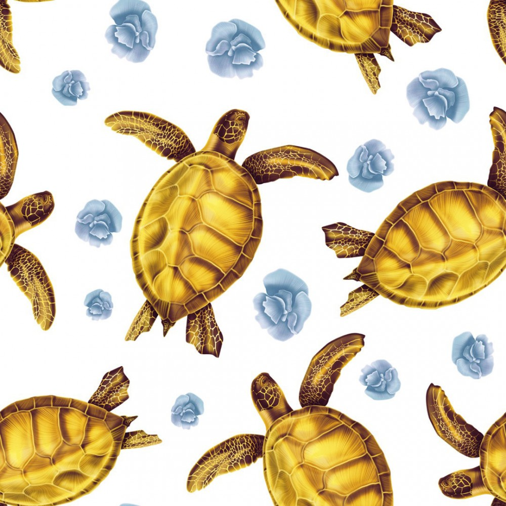 Seamless Pattern Green Sea Turtle Lettuce Coral Amber Cold Sky